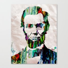 Abraham Lincoln Art Abstract Paintings Modern Watercolor Robert R Splashy Art Canvas Print