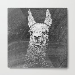 Black White Vintage Funny Llama Animal Art Drawing Metal Print