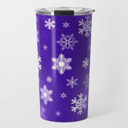 Light Purple Snowflakes Travel Mug