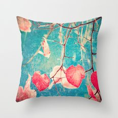 Autumn Hea(u)rts - Textured photography, pinks leafs in blue sky  Throw Pillow