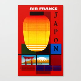 1959 AIR FRANCE Japon Japan Travel Poster Canvas Print