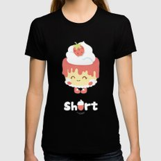 Strawberry Short Cake SMALL Womens Fitted Tee Black