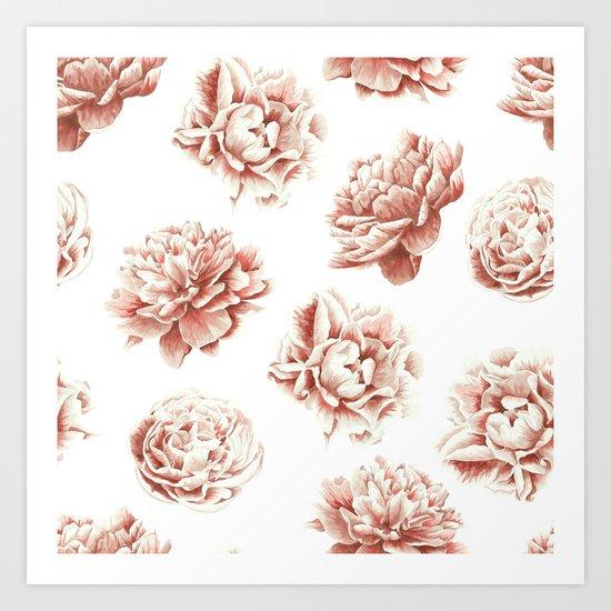 Rose Garden Vintage Rose Pink Cream and White Art Print