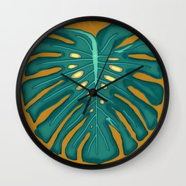 Monstera Flying to Autumn 2 Wall Clock