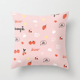 Girl In Love Pattern Throw Pillow