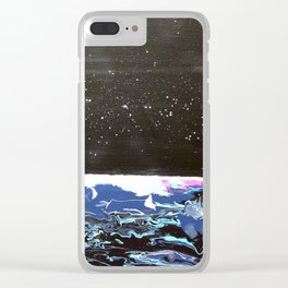 Moon over a rough sea. Clear iPhone Case