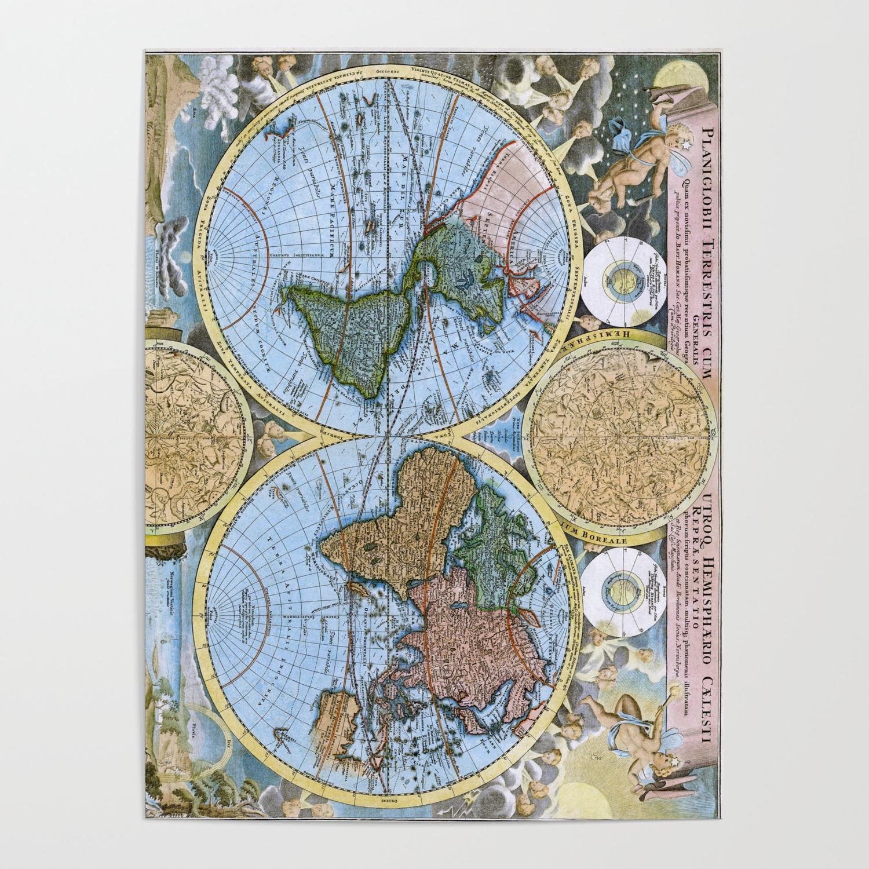 World map wall art 1600 dorm decor mappemonde Poster by frenchfineart