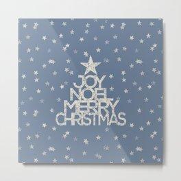 Joy-Noel-Merry Christmas- Typography and stars on fresh wintry gray Metal Print