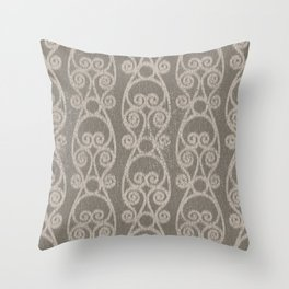 Crackled Scrolled Ikat Pattern - Mocha Tan Throw Pillow