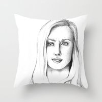 karen Throw Pillows featuring Karen Page by Bitterness