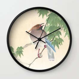 Waxwing Bird Sitting on a Tree Branch - Vintage Japanese Woodblock Print Art Wall Clock