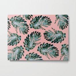 Pink and Green Tropical Leaf Print Metal Print