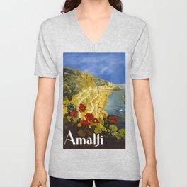 Vintage Amalfi Italy Travel Unisex V-Neck