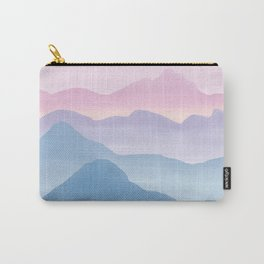 Magical Candy Hand-painted Watercolor Mountains, Abstract Airy Mountain Landscape in Pastel Blue, Violet and Purple Hues Carry-All Pouch