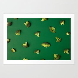 Colorful pattern of Broccoli on a green background Art Print