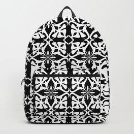 geometric pattern white on black Backpack