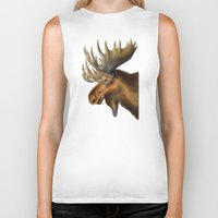 moose Biker Tanks featuring Moose by Tim Jeffs Art