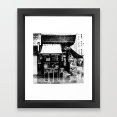 Snow falling in the West End Framed Art Print
