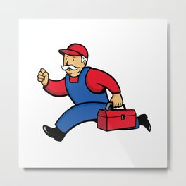 Aircon Technician Running Cartoon Metal Print