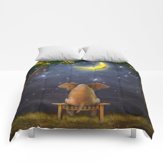 Illustration of a elephant on a bench in the night forest  Comforters