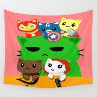 superhero Wall Tapestries featuring Superhero Kitties  by Mayying