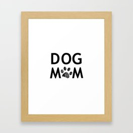 Black paw print with hearts. Dog mom text. Happy Mother's Day background Framed Art Print