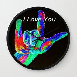 ASL I LOVE YOU - on Black Wall Clock