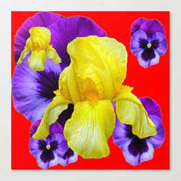 RED COLOR YELLOW-PURPLE PANSY ART Canvas Print