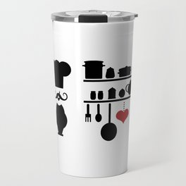 Chef silhouette with kitchen elements Travel Mug