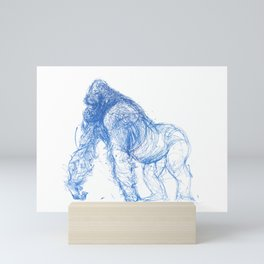 silverback gorilla - blue Mini Art Print