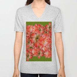 Peppermint Color Amaryllis Flower Avocado Pattern Unisex V-Neck