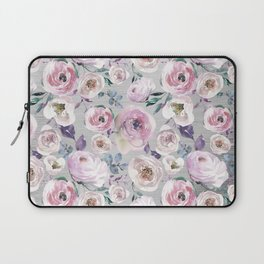 Hand painted blush pink gray violet watercolor roses floral Laptop Sleeve