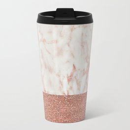 Rose Gold Glitter Metallic and White Marble Travel Mug