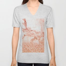 Sparkly Peach Copper Rose Gold Ombre Bohemian Marble Unisex V-Neck
