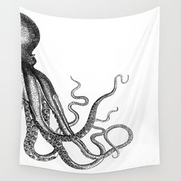 Half Octopus (Right Side) | Black and White Wall Tapestry