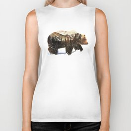 Arctic Grizzly Bear Biker Tank