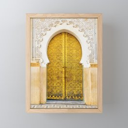 Golden Archway - Ornate Temple Style Door In Fes Morocco - Moroccan Travel Wanderlust Decor - Gold White Cream Peach Neutral Intricate Boho Bohemian Architecture Yoga Studio Decor Framed Mini Art Print