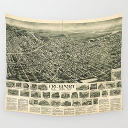 Aerial View of Freeport, L.I., New York (1925) Wall Tapestry