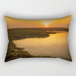 Sunset during low tide at Melasti beach in Bali Rectangular Pillow