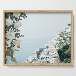 Positano landscape with white flowers Serving Tray