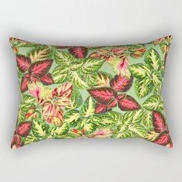 Scattered Coleus Plants Pattern - Green Rectangular Pillow