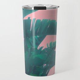 Banana Leaves on pink Travel Mug