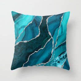 Ocean Waves Marble Teal Throw Pillow