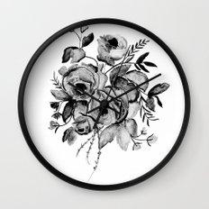GREYSCALE ROSES Wall Clock