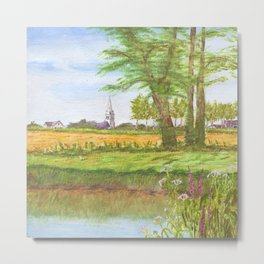Across the fields to Angliers church Metal Print