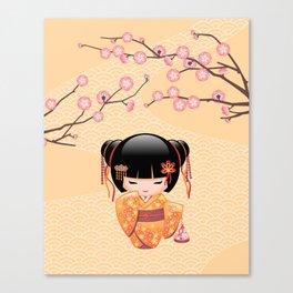Japanese Ume Kokeshi Doll Canvas Print