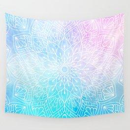Watercolor White Mandala Illustration Pattern Wall Tapestry