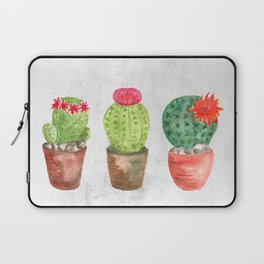 Three Cacti watercolor white Laptop Sleeve