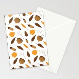 Autumn brown orange acorn fall leaves Stationery Cards