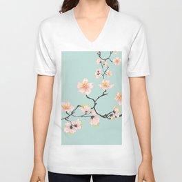 Sakura Cherry Blossoms x Mint Green Unisex V-Neck